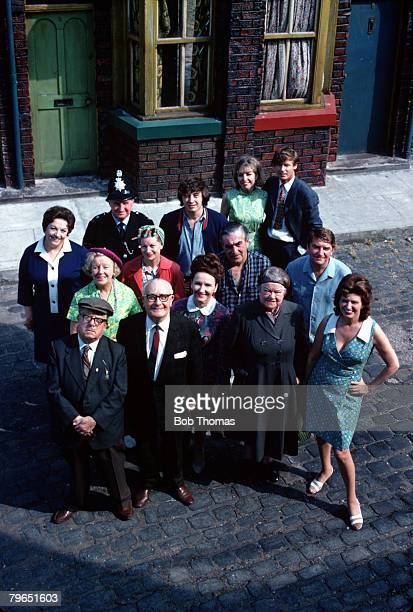 England Circa 1970's Pictured outside the Rovers Return from the television series Coronation Street Front LR Albert Tatlock Jack Walker Ena Sharples...