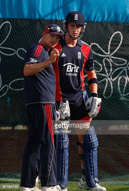 England coach Andy Flower chats with batsman Craig Kieswetter during England nets practice at Shere Bangla cricket stadium on March 1 2010 in Dhaka...