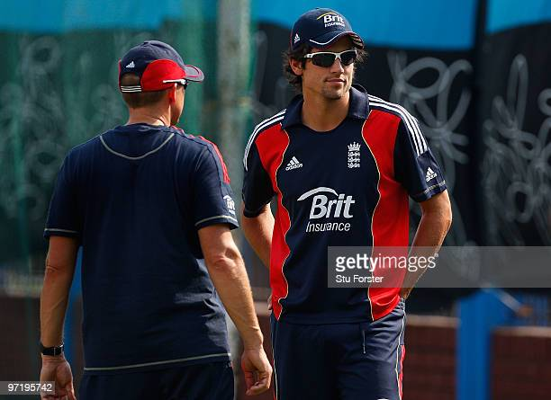 England coach Andy Flower chats with captain Alastair Cook during England nets practice at Shere Bangla cricket stadium on March 1 2010 in Dhaka...
