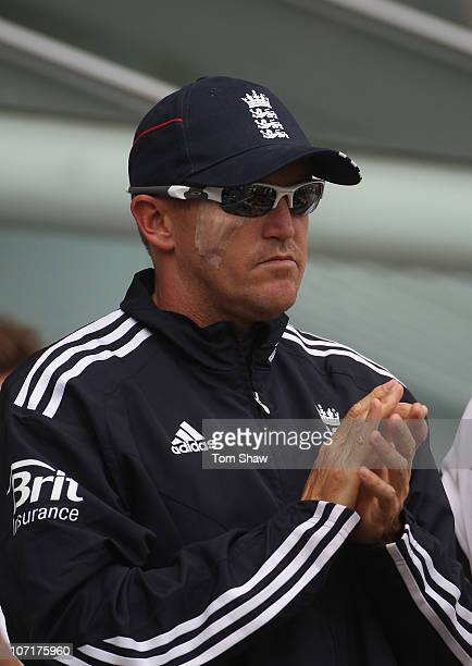 England coach Andy Flower looks on after having an operation to remove a skin cancer near his right eye during day four of the First Ashes Test match...