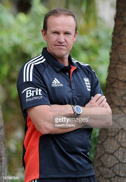 England coach Andy Flower poses for a photograph after a press conference at the team hotel on January 20 2012 in Dubai United Arab Emirates
