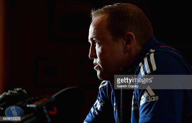 England coach Andy Flower speaks during a press conference at the team hotel on December 10 2013 in Adelaide Australia