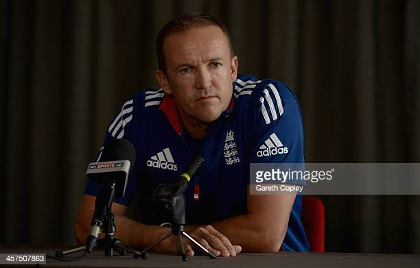 England coach Andy Flower speaks to the media during a press conference at the team hotel on December 18 2013 in Perth Australia