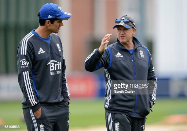 England coach Andy Flower speaks with captain Alastair Cook during an nets session at the University Oval on March 5 2013 in Dunedin New Zealand