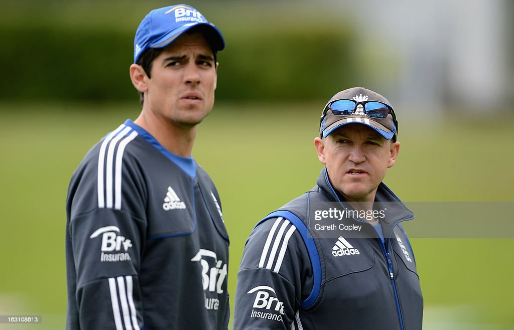 England coach Andy Flower speaks with captain Alastair Cook during an nets session at the University Oval on March 5, 2013 in Dunedin, New Zealand.