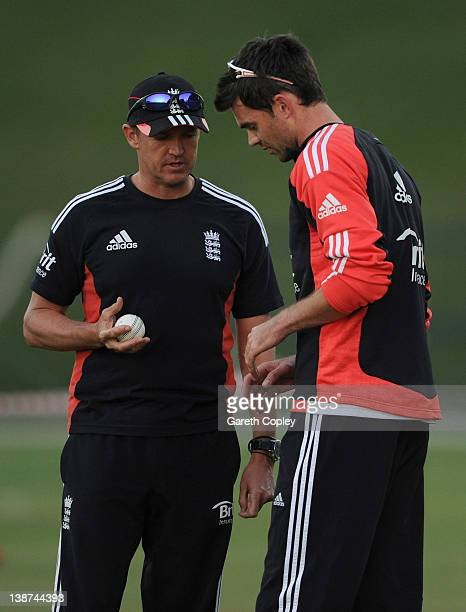 England coach Andy Flower speaks with James Anderson during a nets session at Sheikh Zayed Stadium on February 11 2012 in Abu Dhabi United Arab...