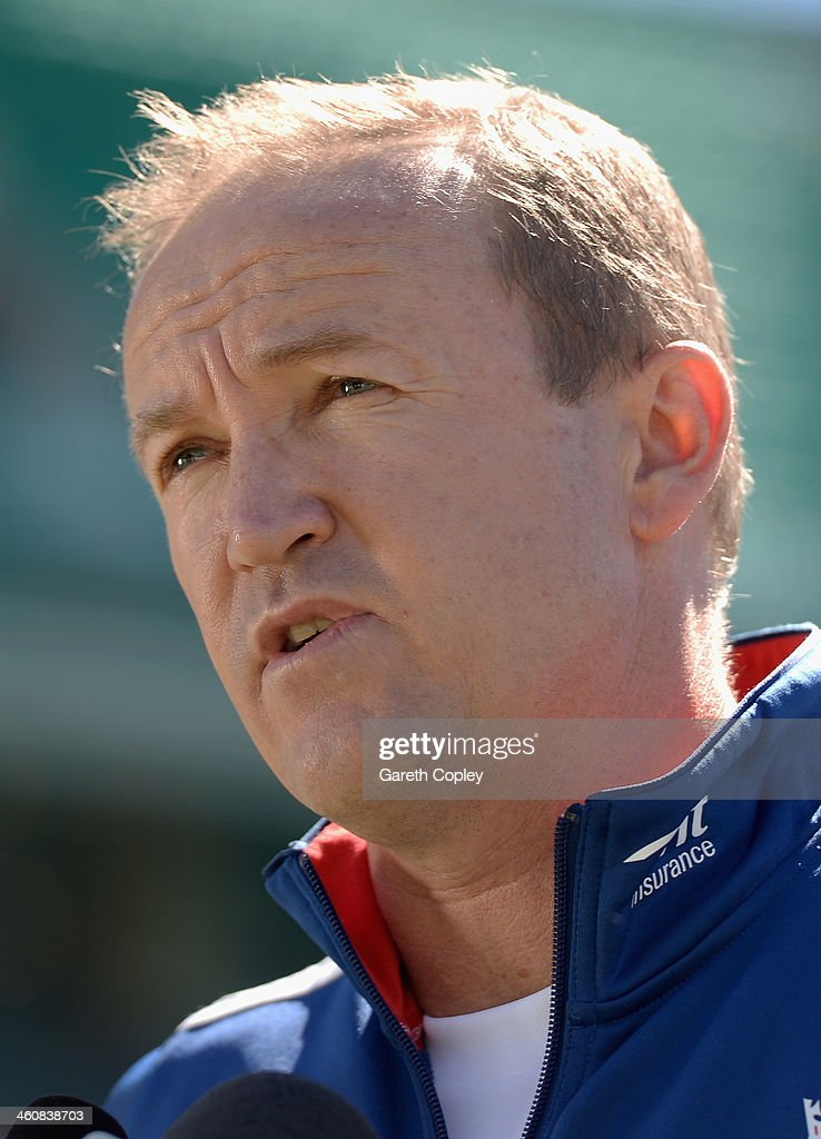 England coach Andy Flower talks to the media at a press conference at the Sydney Cricket Ground on January 6, 2014 in Sydney, Australia.