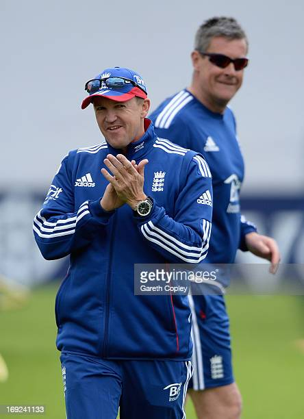 England coach Andy Flower with limited overs coach Ashley Giles during a nets session at Headingley on May 22 2013 in Leeds England