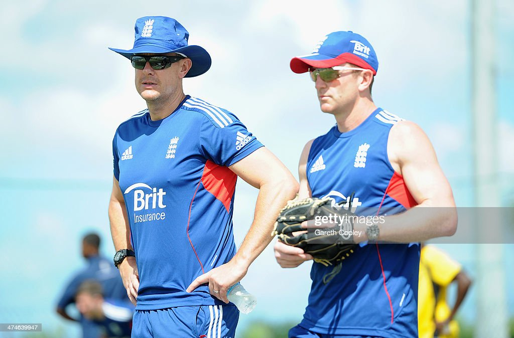 England coach Ashley Giles and assistant coach Paul Collingwood during a nets session at Sir Viv Richards Cricket Ground on February 24, 2014 in Antigua, Antigua and Barbuda.