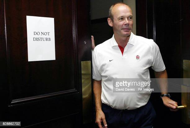 England coach Clive Woodward leaving an interview room during this morning's press confrence at the team hotel in Manly near Sydney ahead of this...