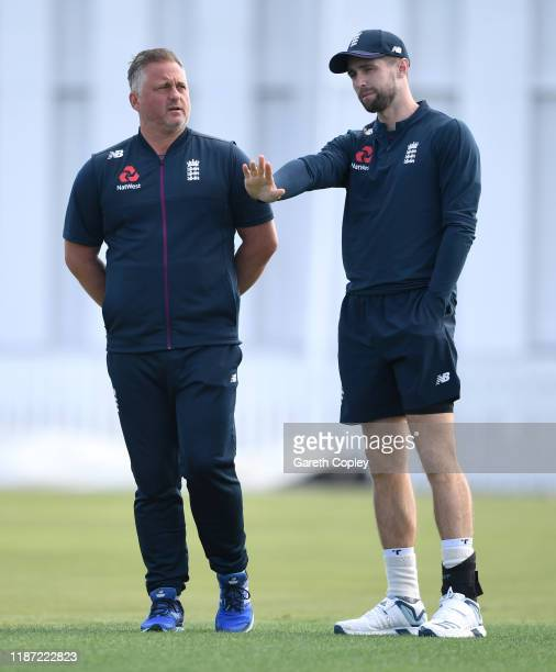 England coach Darren Gough speaks with Chris Woakes ahead of the tour match between New Zealand XI and England at Cobham Oval on November 13, 2019 in...
