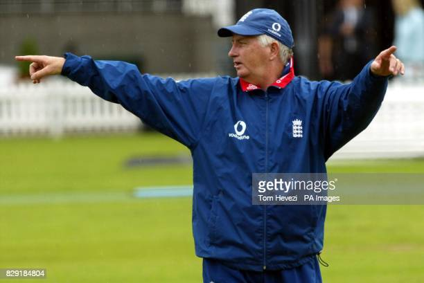 England coach Duncan Fletcher at the net practise at Lord's Cricket Ground, London before the Nat West Final against India tomorrow.