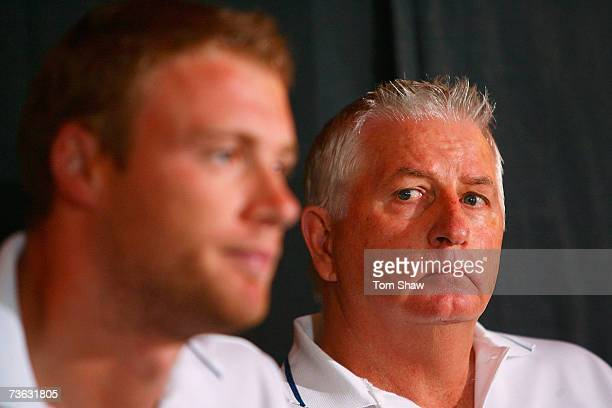 England coach Duncan Fletcher looks on as Andrew Flintoff of England talks to the media during an England team press conference at the St Lucian Rex...