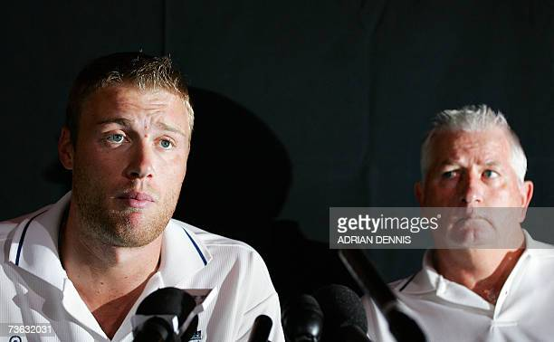 England Coach Duncan Fletcher looks over to Andrew Flintoff as he answers questions from the media at the team hotel in Rodney Bay, St. Lucia 19...