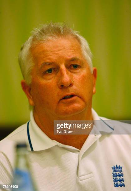 England coach Duncan Fletcher talks to the media during an England team press conference at the Hilton hotel on April 22, 2007 in Bridgetown,...