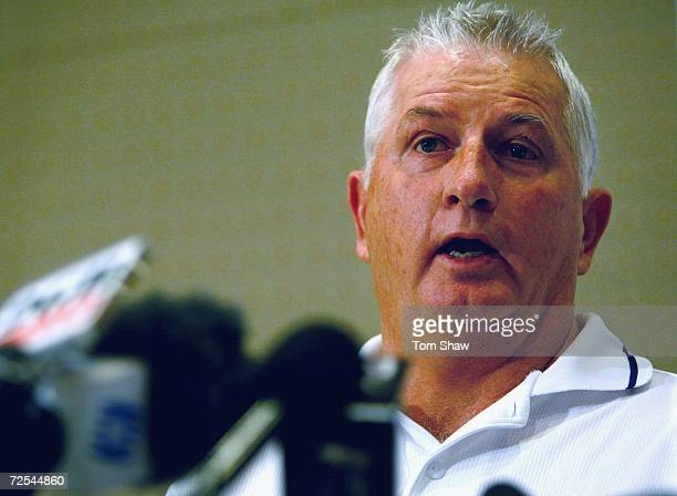 England coach Duncan Fletcher talks to the press about Marcus Trescothick leaving the tour to go home, at the Radisson Hotel on November 15, 2006 in...