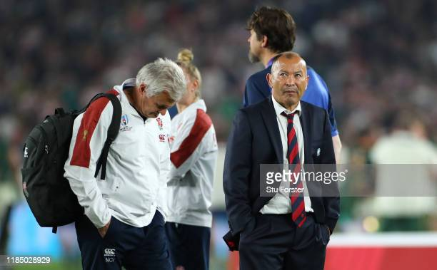 England coach Eddie Jones and Neil Craig High performance manager of England look on dejectedly after the Rugby World Cup 2019 Final between England...
