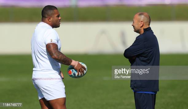 England coach Eddie Jones chats with Kyle Sinckler during England captains run ahead of the 2019 Rugby World Cup Final at Fuchu Asahi Football Park...