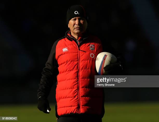 England coach Eddie Jones during an England Training Session at Twickenham Stadium on February 16 2018 in London England