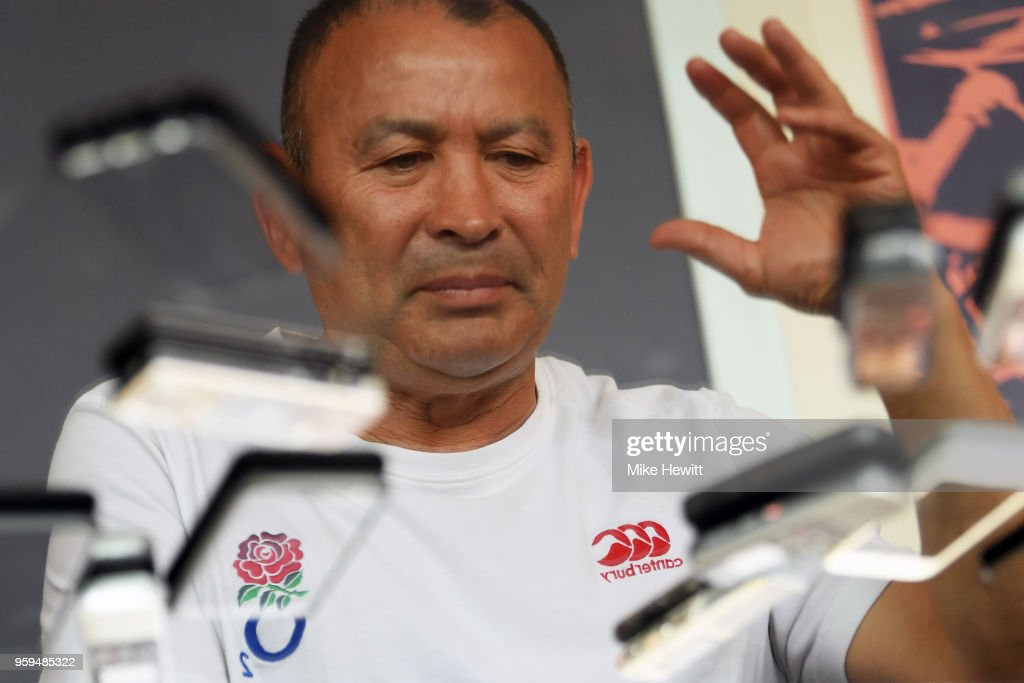. England coach Eddie Jones is reflected in a table during an England RFU media briefing at Brighton Marina on May 17, 2018 in Brighton, England.