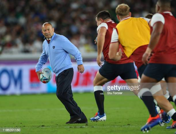England coach Eddie Jones looks on during the warm up before the Rugby World Cup 2019 Final between England and South Africa at International Stadium...