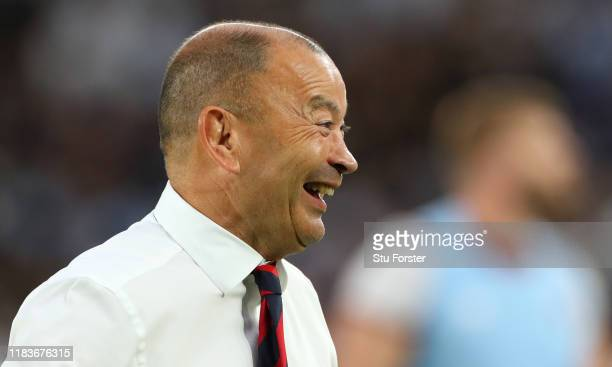 England coach Eddie Jones smiles during the warm up before the Rugby World Cup 2019 Semi-Final match between England and New Zealand at International...