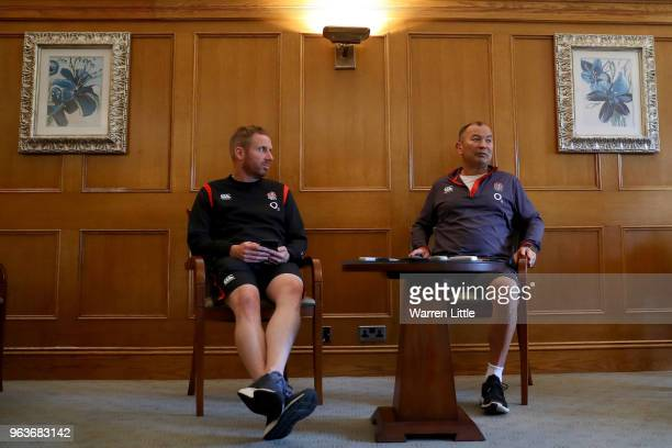 England coach Eddie Jones speaks to the media at Pennyhill Park on May 30 2018 in Bagshot England