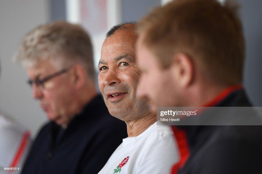 England coach Eddie Jones talks to journalists during an England RFU media briefing at Brighton Marina on May 17, 2018 in Brighton, England.