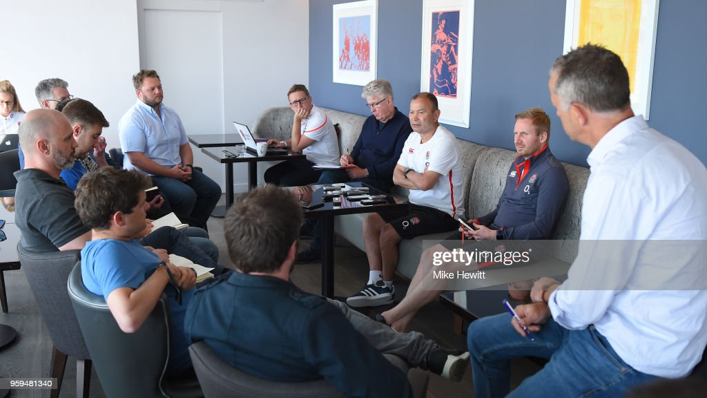 England coach Eddie Jones talks to journalists during an England RFU media briefing at Brighton Marina on May 17, 2018 in Brighton, England.
