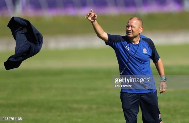 England coach Eddie Jones throws his jacket during England captains run ahead of the 2019 Rugby World Cup Final at Fuchu Asahi Football Park on...