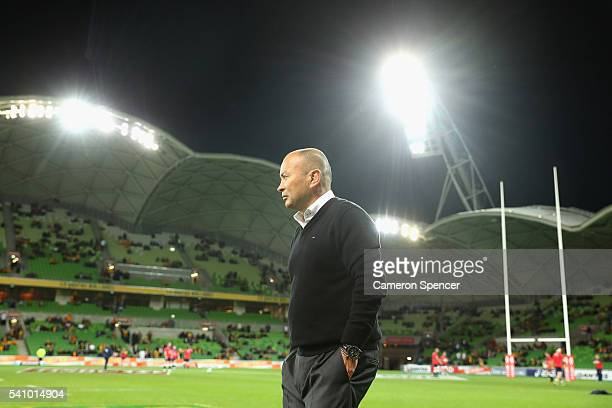 England coach Eddie Jones walks pitchside during the International Test match between the Australian Wallabies and England at AAMI Park on June 18...