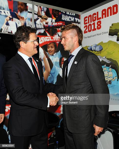 England coach Fabio Capello and football player David Beckham attend the media expo for countries bidding to host the FIFA World Cup 2018 December 4...