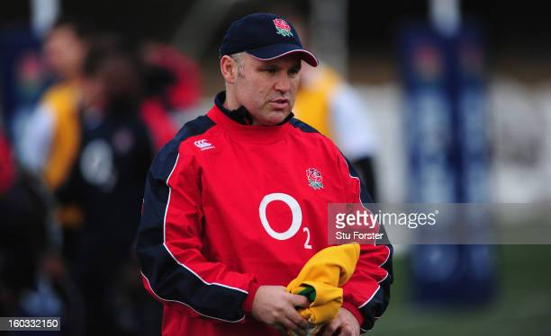England coach John Fletcher looks on during England Saxons training at Druid Park on January 29 2013 in Newcastle upon Tyne England