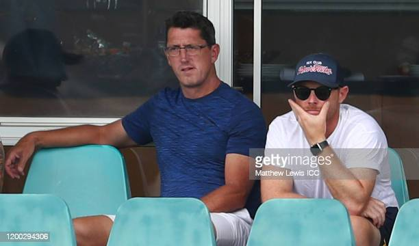 England coach Jon Lewis and England Batting coach Ian Bell watch during the ICC U19 Cricket World Cup Group B match between Australia and West Indies...