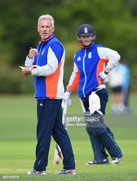 England coach Peter Moores during an England nets session at Karori Park on February 26, 2015 in Wellington, New Zealand.