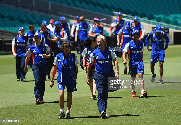England coach Peter Moores leads the team to an England Training Session at the Sydney Cricket Groundl on February 7 2015 in Sydney Australia