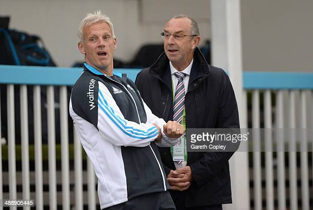 England coach Peter Moores speaks with Sky commentator David Lloyd as delays the start of the Royal London OneDay International match between...