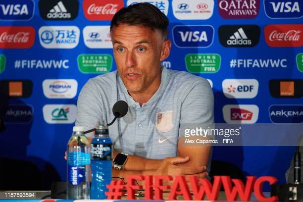 England coach Philip Neville faces the media during a press conference ahead of the 2019 FIFA Women's World Cup France Round Of 16 match between...