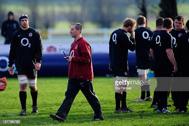 England coach Stuart Lancaster oversees an England training session at West Park Leeds RFC on January 26 2012 in Leeds England
