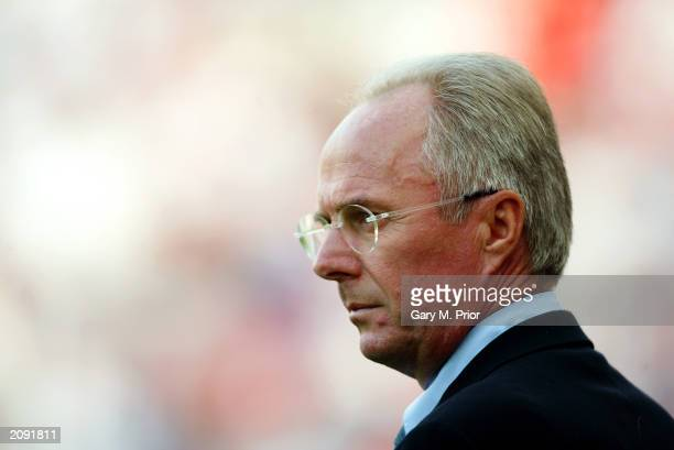 England coach Sven Goran Eriksson looks on during the UEFA European Championships 2004 Group 7 Qualifying match between England and Slovakia held on...