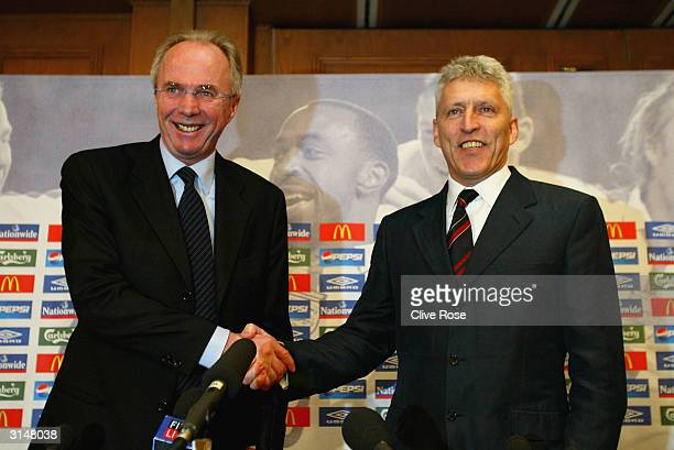 England coach Sven Goran Eriksson shakes hands with FA Chief Executive Mark Palios during a Press Conference to confirm his future at Sopwell House...