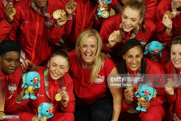 England coach Tracey Neville celebrates with her players following the Netball Gold Medal Match on day 11 of the Gold Coast 2018 Commonwealth Games...