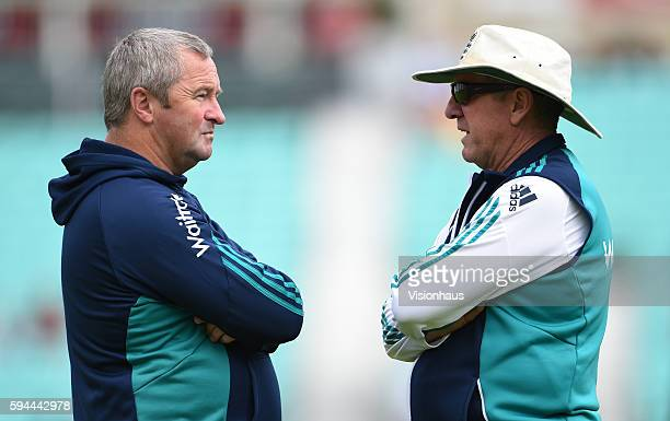 England Coach Trevor Bayliss and Assistant Coach Paul Farbrace during day four of the fourth Investec test match between England and Pakistan at The...