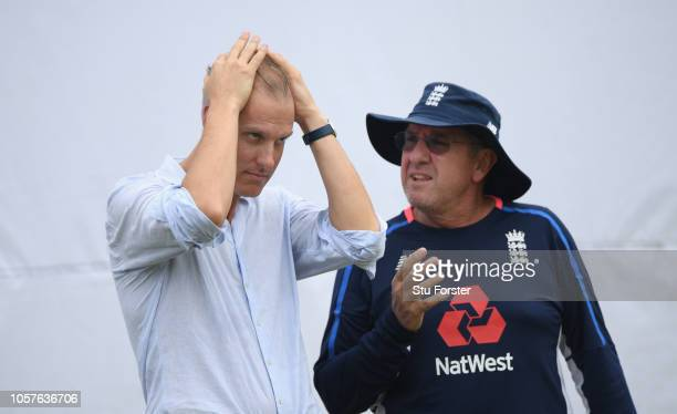 England coach Trevor Bayliss chats with national selector Ed Smith during England Cricket Nets at Galle International Stadium ahead of the First Test...