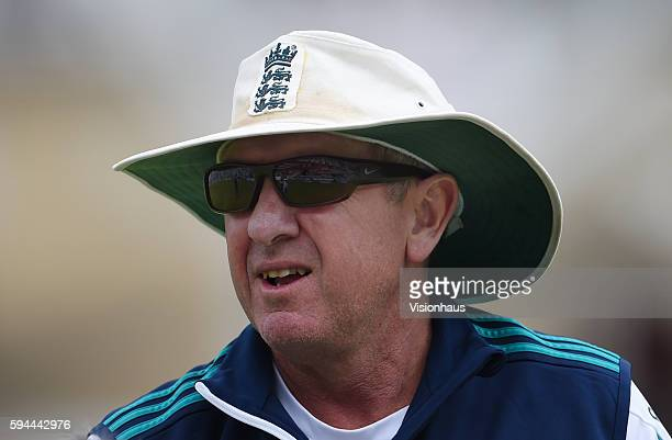 England Coach Trevor Bayliss during day four of the fourth Investec test match between England and Pakistan at The Kia Oval on August 14 2016 in...