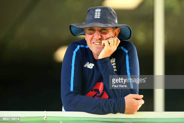 England coach Trevor Bayliss looks on during the Two Day tour match between the Cricket Australia CA XI and England at Richardson Park on December 10...