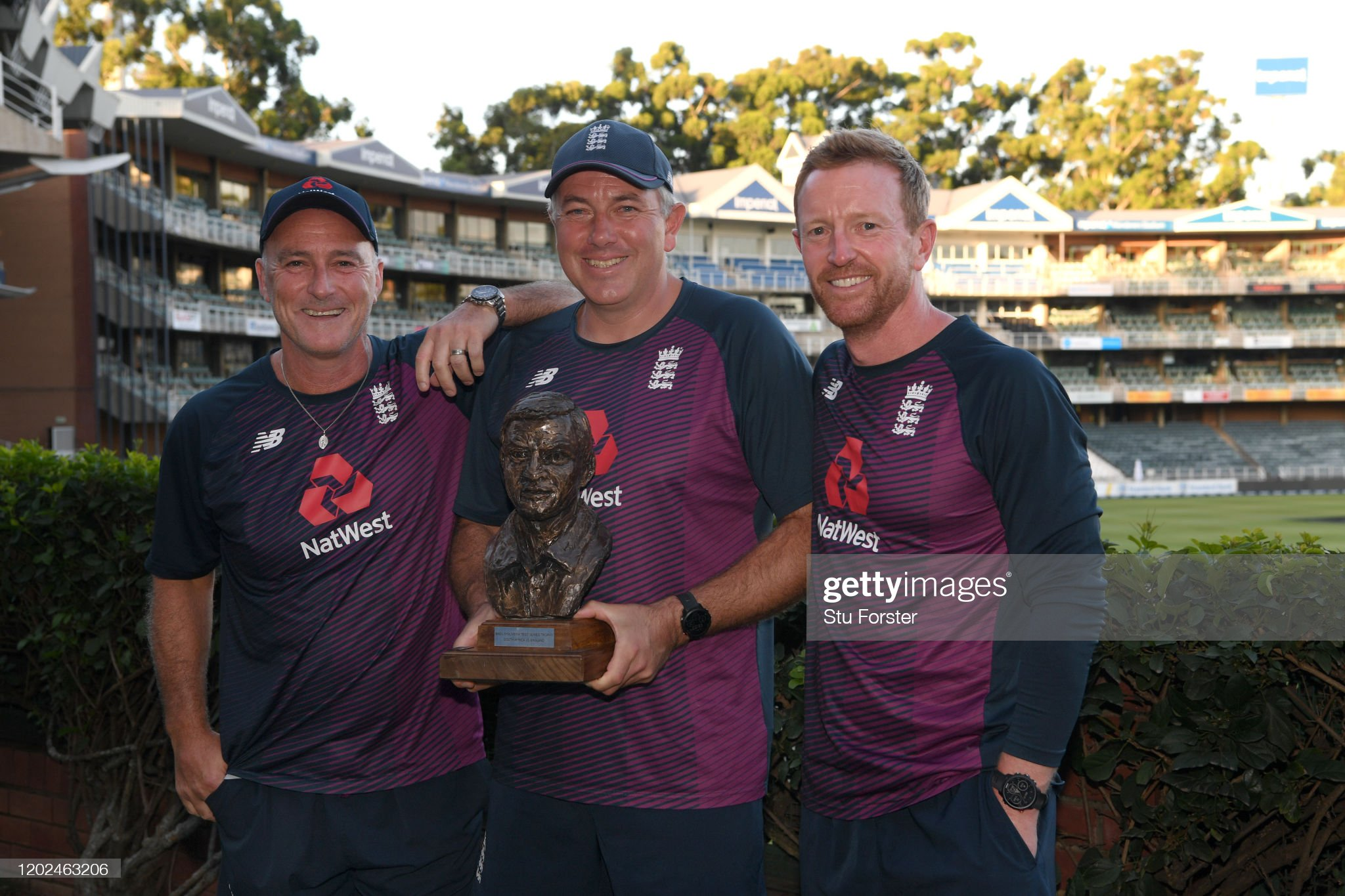 England coaches Chris Silverwood (c) with Graham Thorpe (batting coach) and Paul Collingwood (Photo by Stu Forster/Getty Images)