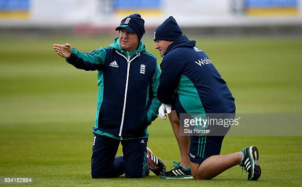 England coaches Trevor Bayliss and Paul Farbrace chat during England Nets session ahead of the 2nd Investec Test match between England and Sri Lanka...