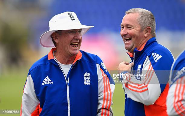 England coaches Trevor Bayliss and Paul Farbrace share a joke during England nets ahead of the 1st Investec Ashes Test match between England and...