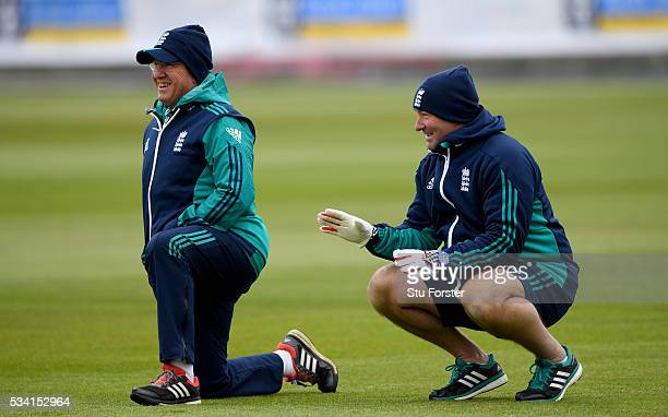 England coaches Trevor Bayliss and Paul Farbrace share a joke during England Nets session ahead of the 2nd Investec Test match between England and...